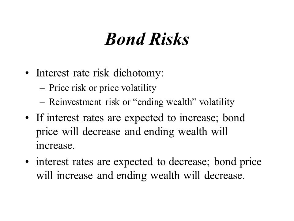 Bond Risks Interest rate risk dichotomy: –Price risk or price volatility –Reinvestment risk or ending wealth volatility If interest rates are expected to increase; bond price will decrease and ending wealth will increase.