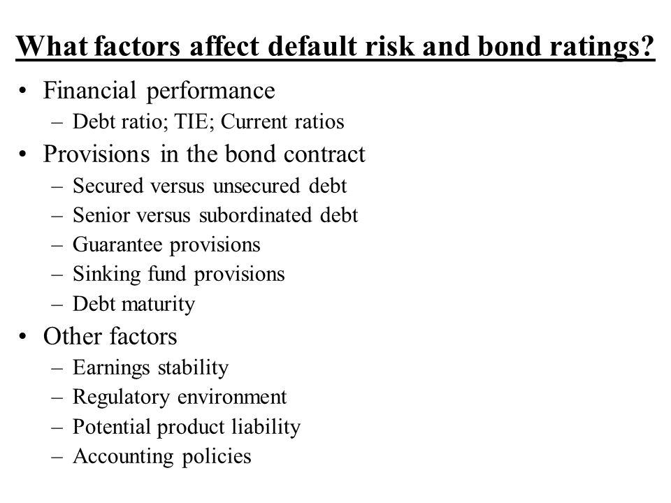 What factors affect default risk and bond ratings.