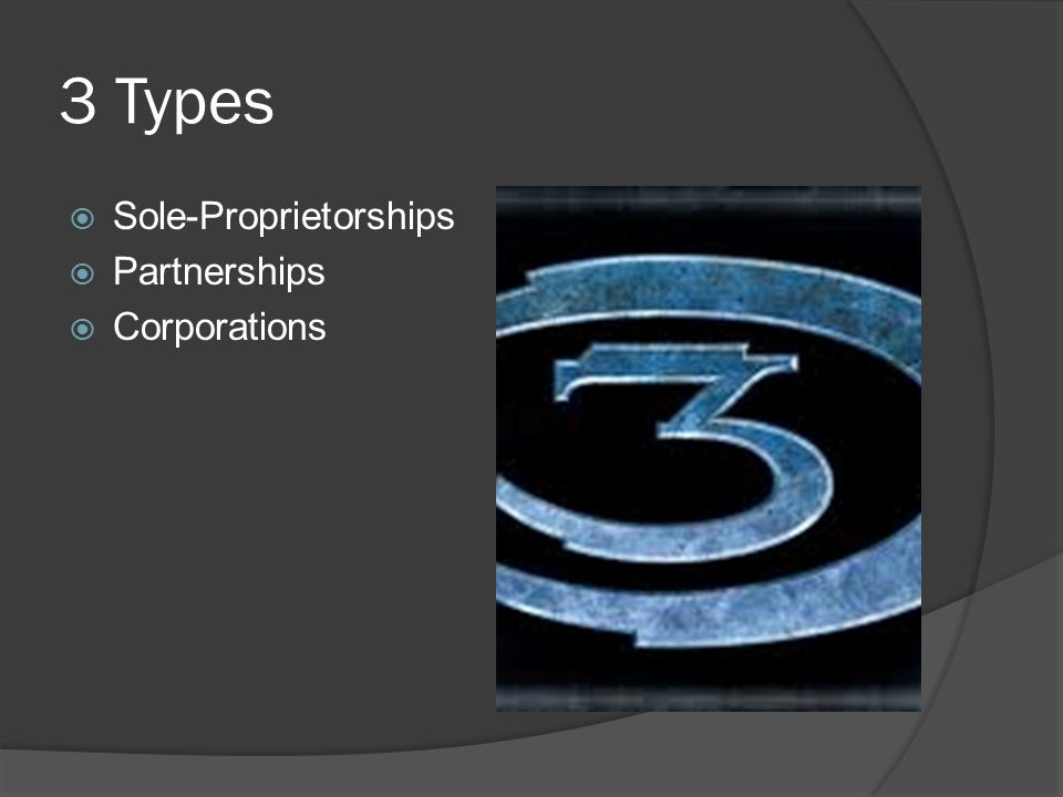 3 Types  Sole-Proprietorships  Partnerships  Corporations