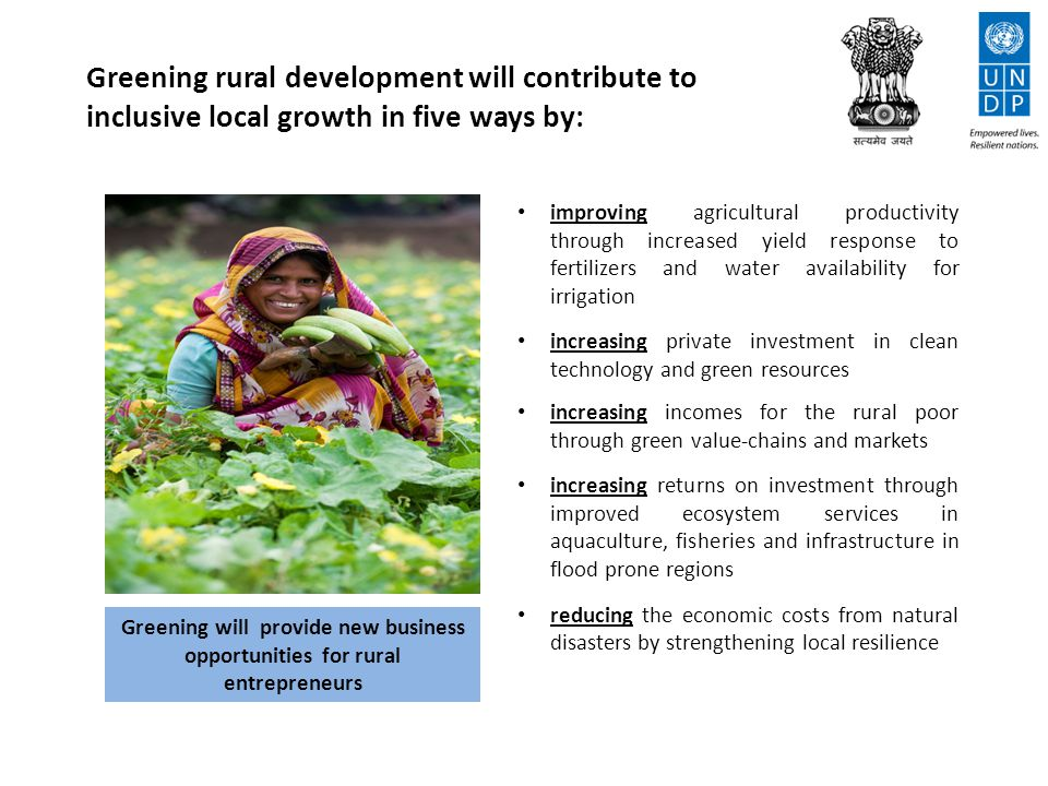 conserving water quality and quantity through increased water use efficiency in agriculture, construction and drinking water and by reducing the pollutant load in sanitation waste improving vegetative cover and biodiversity reducing soil erosion and increasing soil carbon Greening will help to conserve groundwater in hard-rock regions, which occupy 70% of India's landmass Greening rural development will improve environmental sustainability in three ways by: