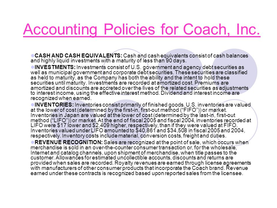 Accounting Policies for Coach, Inc.