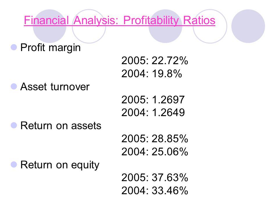 Financial Analysis: Profitability Ratios Profit margin 2005: 22.72% 2004: 19.8% Asset turnover 2005: 1.2697 2004: 1.2649 Return on assets 2005: 28.85% 2004: 25.06% Return on equity 2005: 37.63% 2004: 33.46%