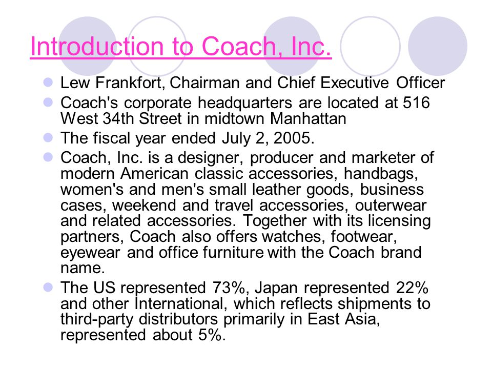 Introduction to Coach, Inc. Lew Frankfort, Chairman and Chief Executive Officer Coach's corporate headquarters are located at 516 West 34th Street in