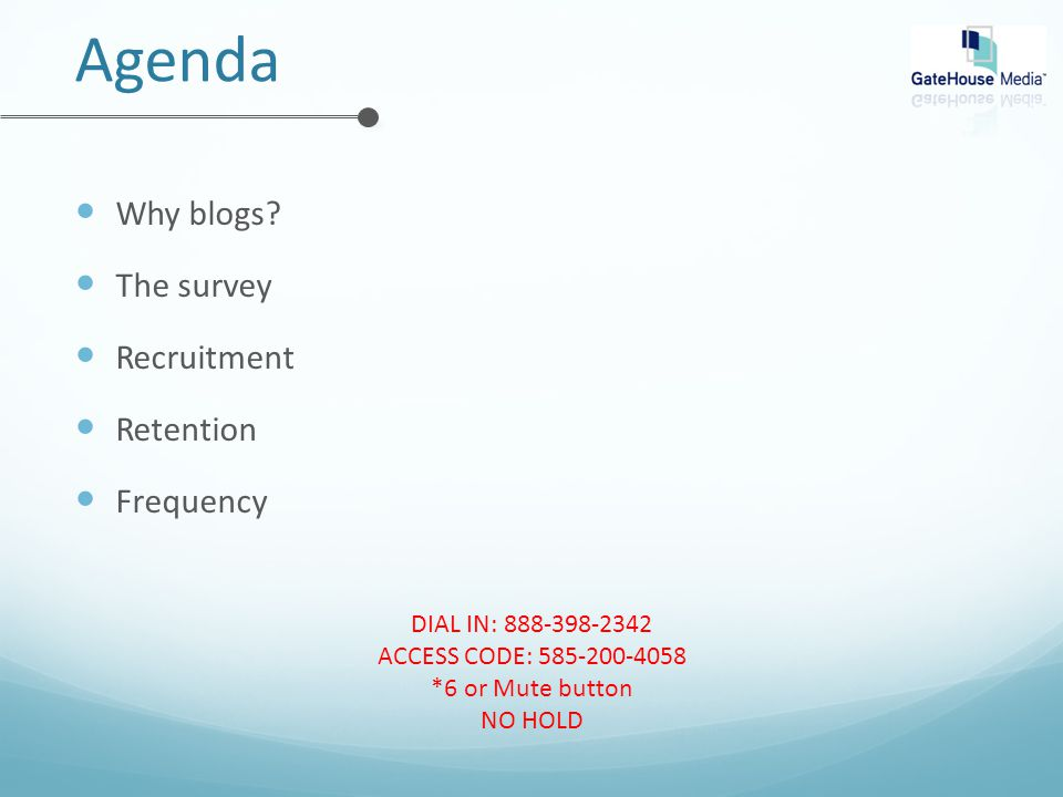 Agenda Why blogs.