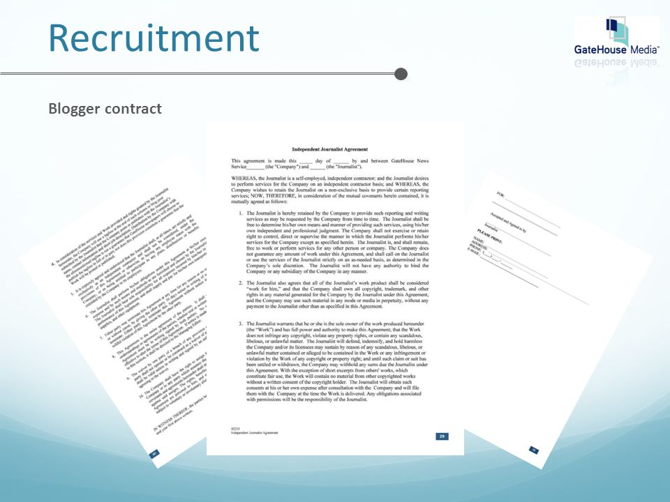 Recruitment Blogger contract