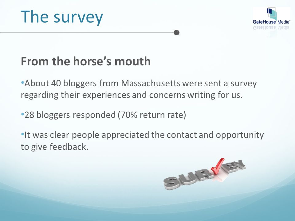 The survey From the horse's mouth About 40 bloggers from Massachusetts were sent a survey regarding their experiences and concerns writing for us.