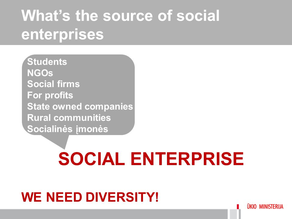 What's the source of social enterprises SOCIAL ENTERPRISE Students NGOs Social firms For profits State owned companies Rural communities Socialinės įm