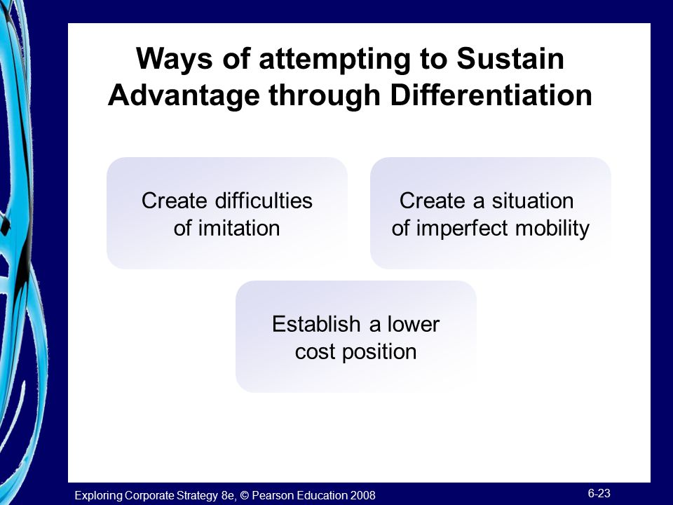 Exploring Corporate Strategy 8e, © Pearson Education 2008 6-23 Ways of attempting to Sustain Advantage through Differentiation Create difficulties of imitation Create a situation of imperfect mobility Establish a lower cost position