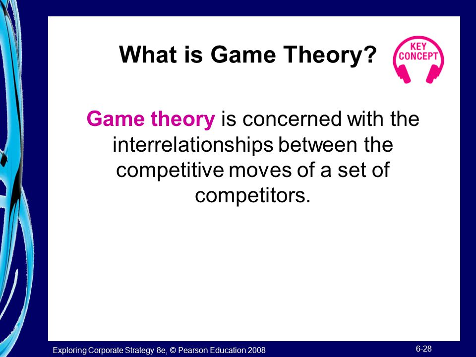 Exploring Corporate Strategy 8e, © Pearson Education 2008 6-28 What is Game Theory.
