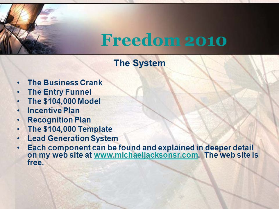 Freedom 2010 The Crank The crank is a four part system that links all of our vital activities together in a cycle that propagates two key assets – Profit and People.