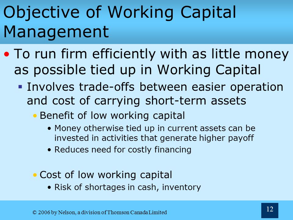 © 2006 by Nelson, a division of Thomson Canada Limited 11 Working Capital and Funding Requirements Net working capital is Gross Working Capital – Current Liabilities (including spontaneous financing)  Reflects net amount of funds needed to support routine operations