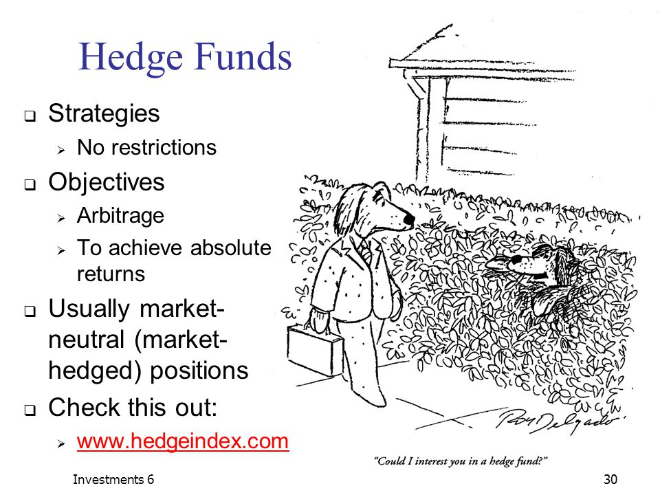 Investments 630 Hedge Funds  Strategies  No restrictions  Objectives  Arbitrage  To achieve absolute returns  Usually market- neutral (market- hedged) positions  Check this out:  www.hedgeindex.com www.hedgeindex.com