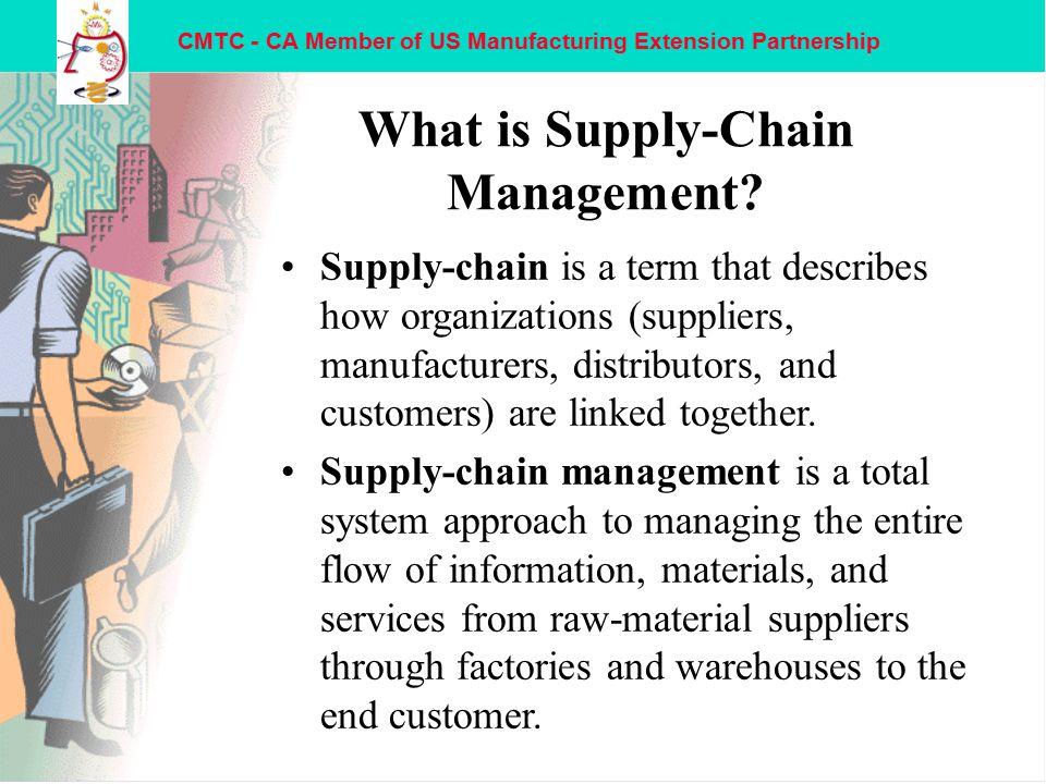 CMTC - CA Member of US Manufacturing Extension Partnership Supply Chain Management Evolution nHistorical operational stages: –From disconnected.