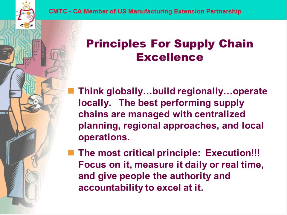 CMTC - CA Member of US Manufacturing Extension Partnership Principles For Supply Chain Excellence nThink globally…build regionally…operate locally.
