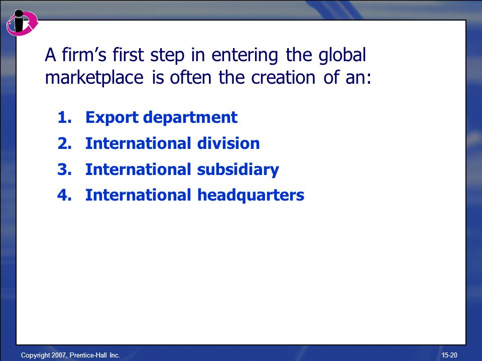 Copyright 2007, Prentice-Hall Inc.15-20 A firm's first step in entering the global marketplace is often the creation of an: 1.Export department 2.International division 3.International subsidiary 4.International headquarters