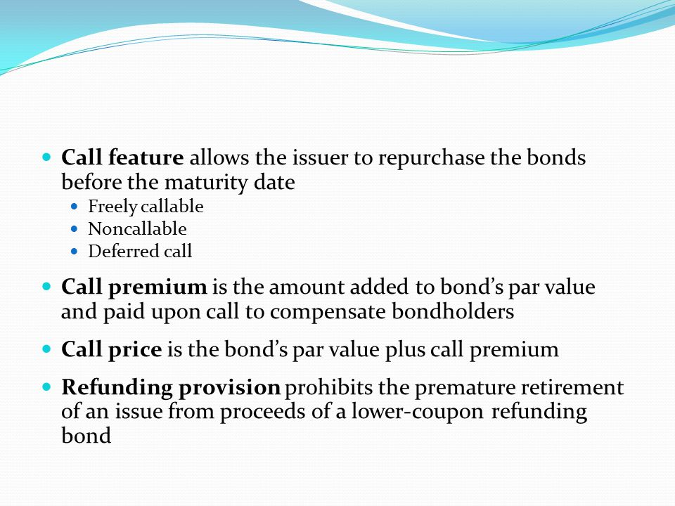 Sinking fund stipulates how a bond will be paid off over time Applies only to term bonds Issuer is obligated to pay off the bond systematically over time