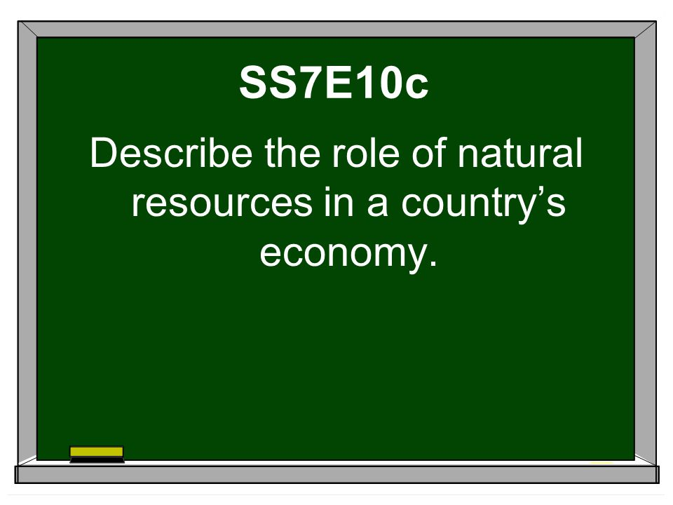 SS7E10c Describe the role of natural resources in a country's economy.