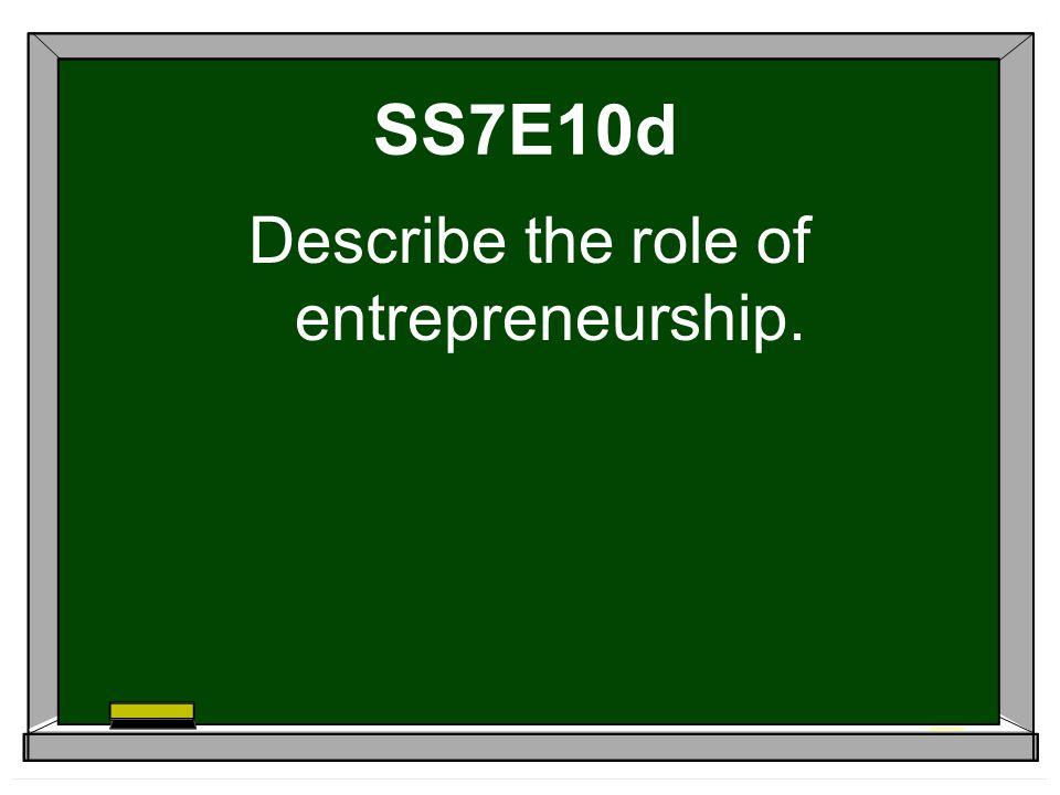 SS7E10d Describe the role of entrepreneurship.