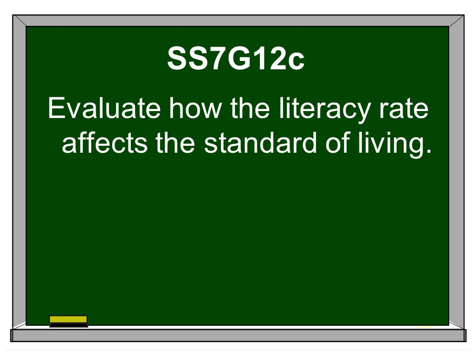 SS7G12c Evaluate how the literacy rate affects the standard of living.