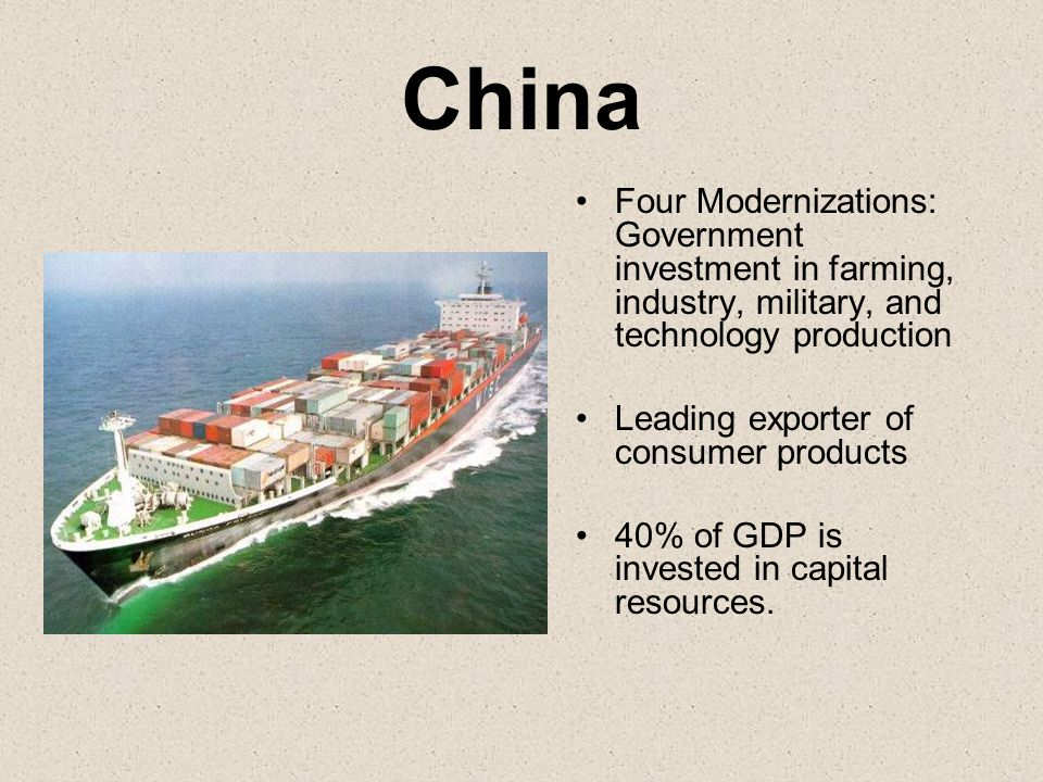 China Four Modernizations: Government investment in farming, industry, military, and technology production Leading exporter of consumer products 40% o