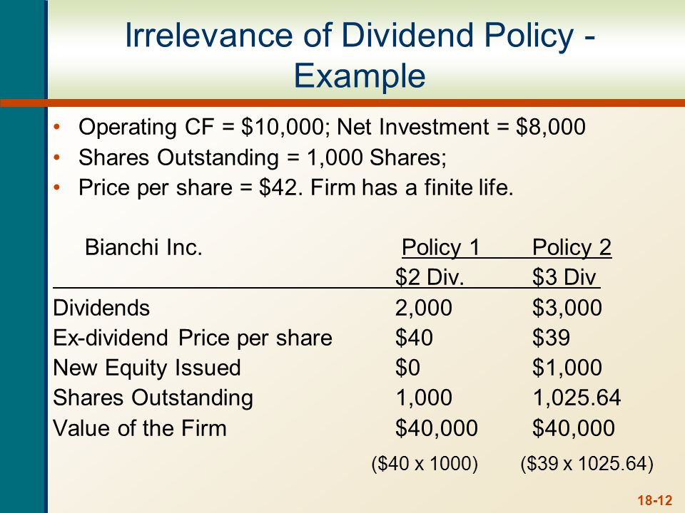 18-12 Operating CF = $10,000; Net Investment = $8,000 Shares Outstanding = 1,000 Shares; Price per share = $42.