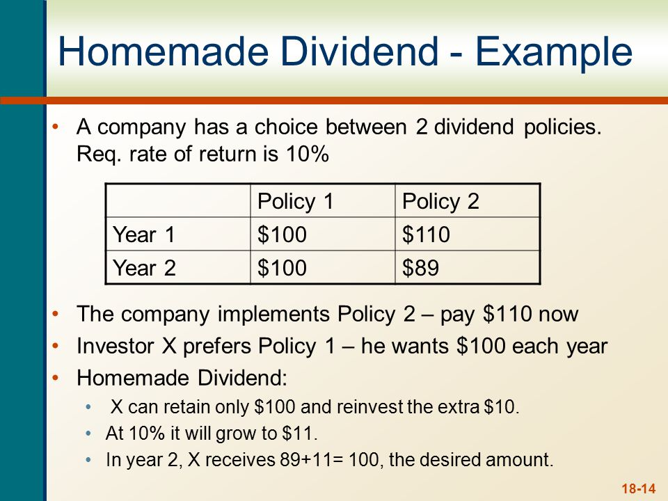 18-14 Homemade Dividend - Example A company has a choice between 2 dividend policies. Req. rate of return is 10% The company implements Policy 2 – pay