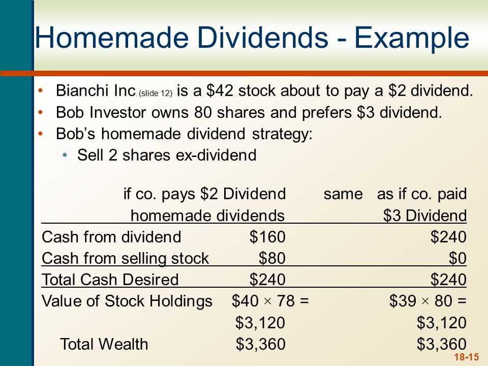 18-15 Homemade Dividends - Example Bianchi Inc.