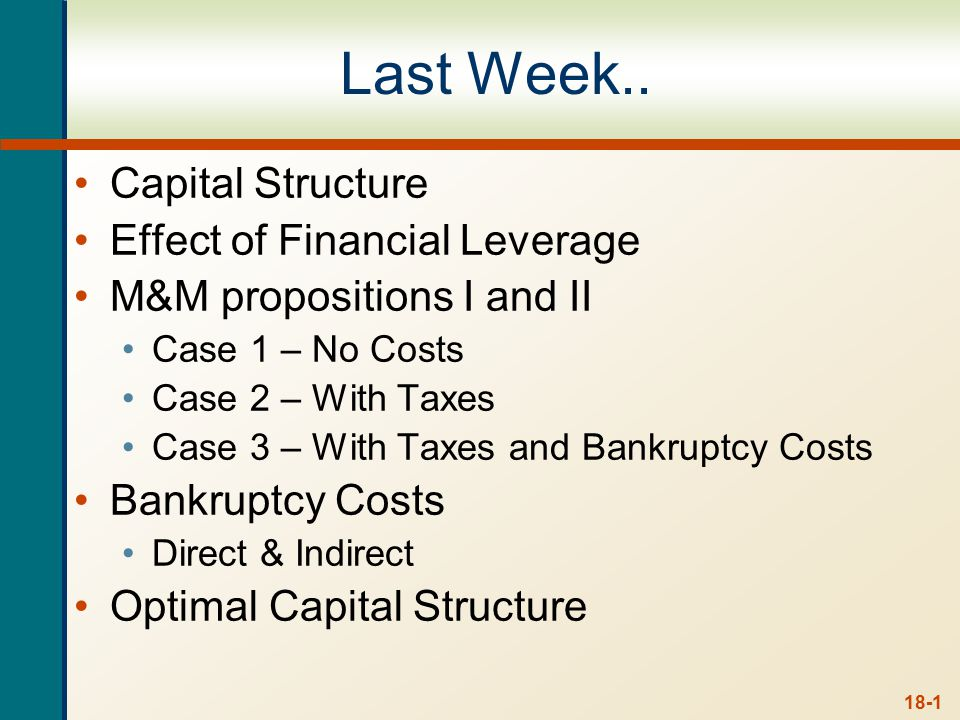 18-1 Last Week.. Capital Structure Effect of Financial Leverage M&M propositions I and II Case 1 – No Costs Case 2 – With Taxes Case 3 – With Taxes an