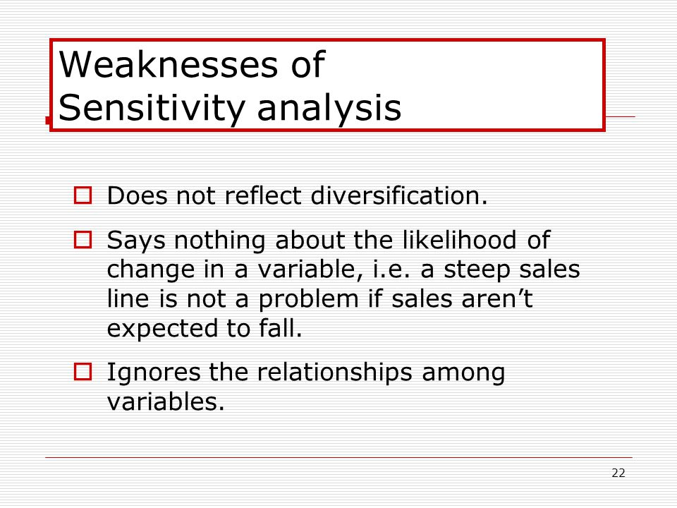 22 Weaknesses of Sensitivity analysis  Does not reflect diversification.