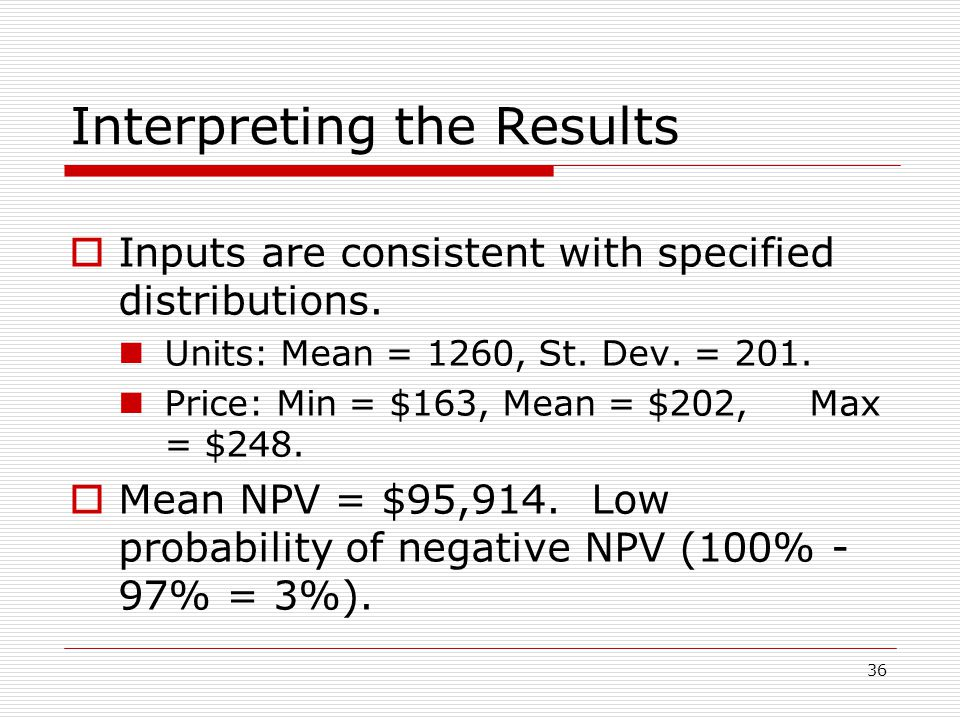 36 Interpreting the Results  Inputs are consistent with specified distributions.
