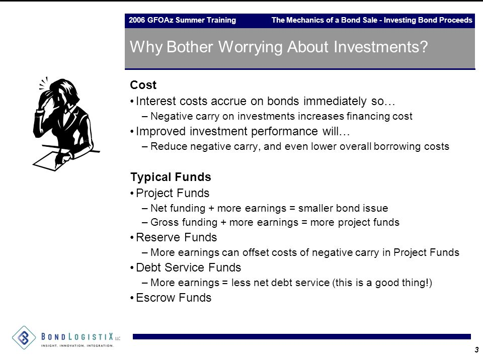 2006 GFOAz Summer Training The Mechanics of a Bond Sale - Investing Bond Proceeds 3 Why Bother Worrying About Investments? Cost Interest costs accrue