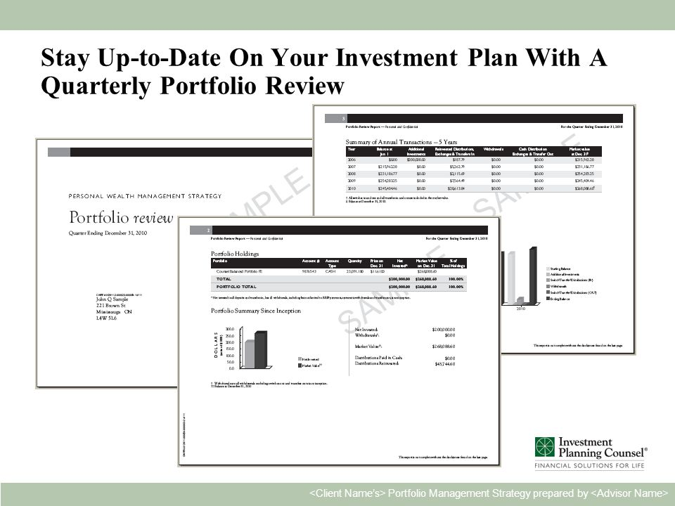 Personal & Confidential22 Portfolio Management Strategy prepared by Stay Up-to-Date On Your Investment Plan With A Quarterly Portfolio Review