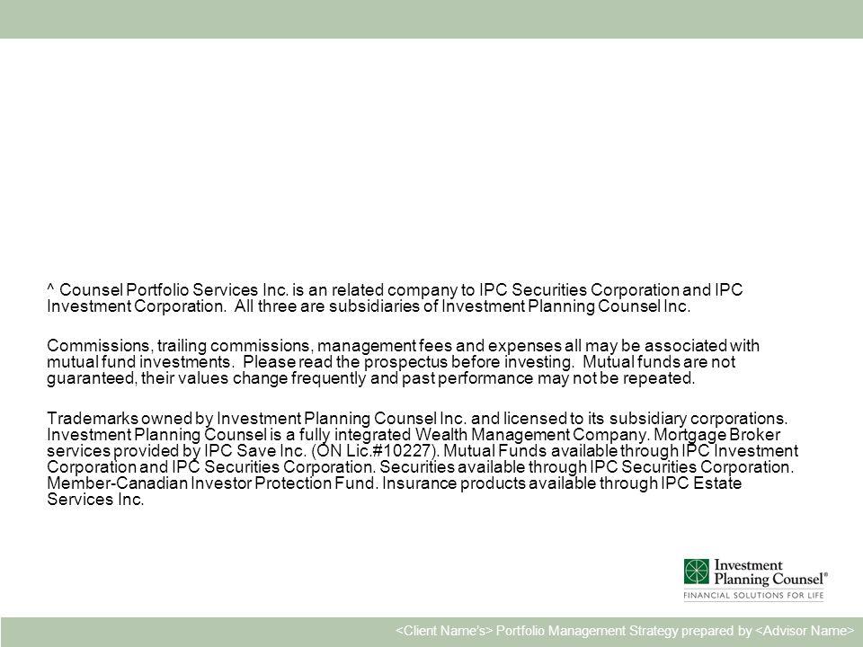Personal & Confidential24 Portfolio Management Strategy prepared by ^ Counsel Portfolio Services Inc.