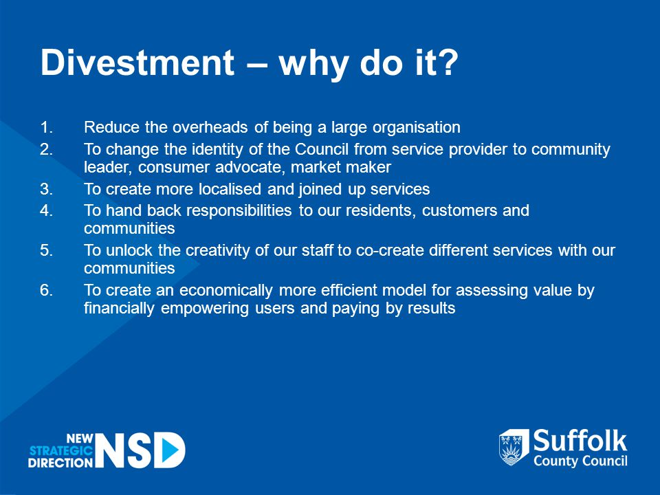 Divestment – why do it.