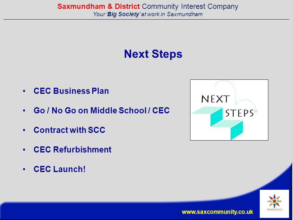 Saxmundham & District Community Interest Company Your 'Big Society' at work in Saxmundham www.saxcommunity.co.uk Next Steps CEC Business Plan Go / No Go on Middle School / CEC Contract with SCC CEC Refurbishment CEC Launch!