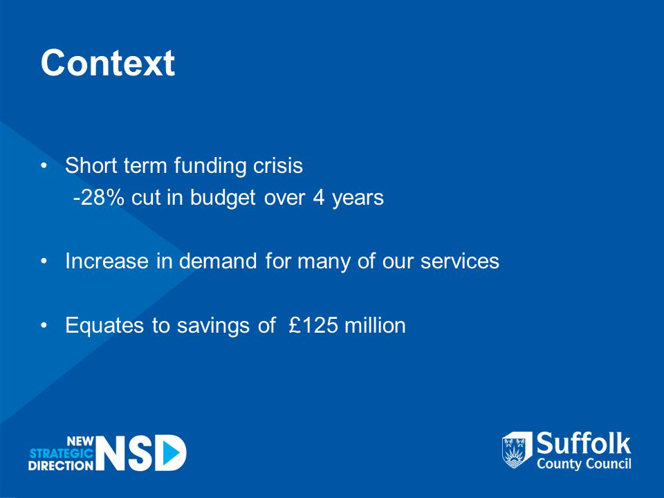 Context Short term funding crisis -28% cut in budget over 4 years Increase in demand for many of our services Equates to savings of £125 million