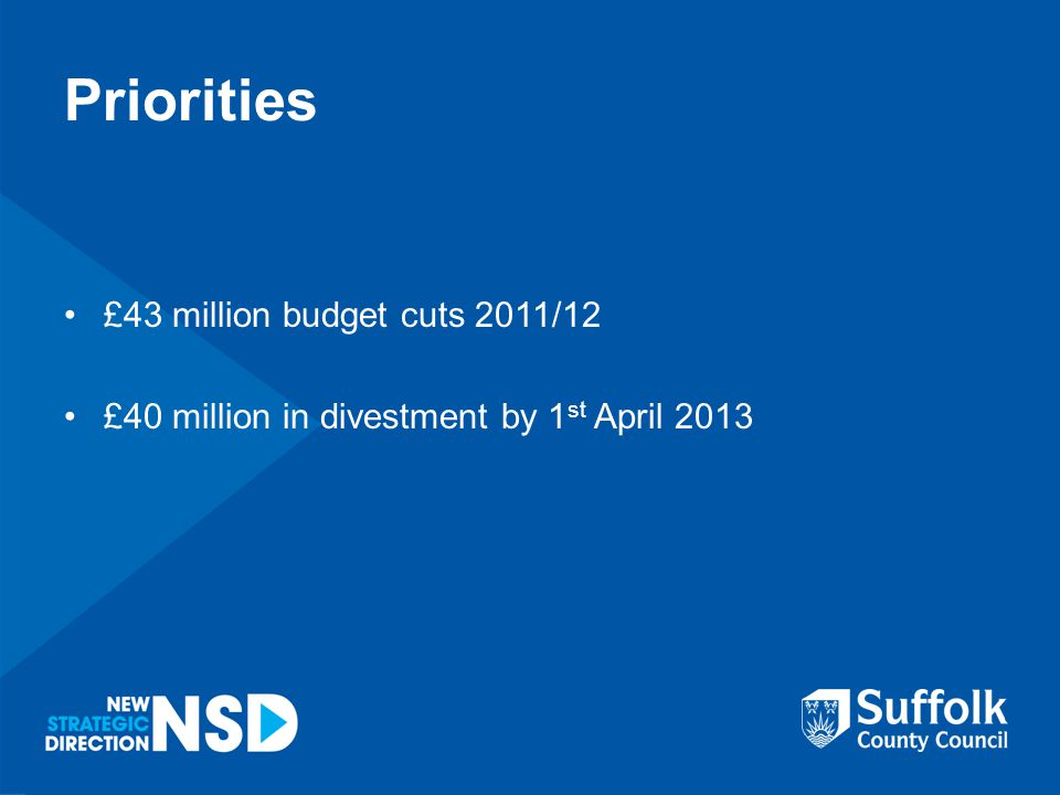 Priorities £43 million budget cuts 2011/12 £40 million in divestment by 1 st April 2013