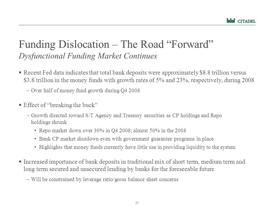"""25 Funding Dislocation – The Road """"Forward""""  Recent Fed data indicates that total bank deposits were approximately $8.8 trillion versus $3.8 trillion"""