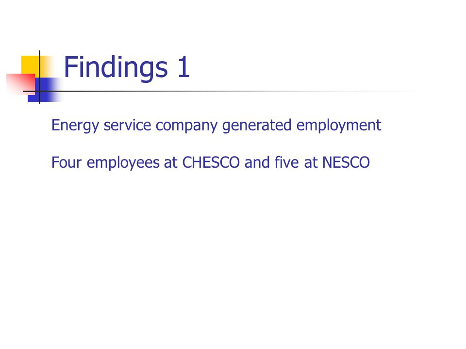 Findings 1 Energy service company generated employment Four employees at CHESCO and five at NESCO