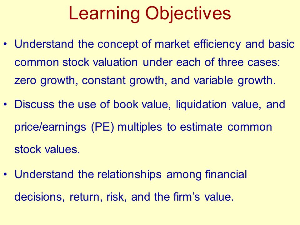 Valuation Fundamentals The (market) value of any investment asset is simply the present value of expected cash flows.
