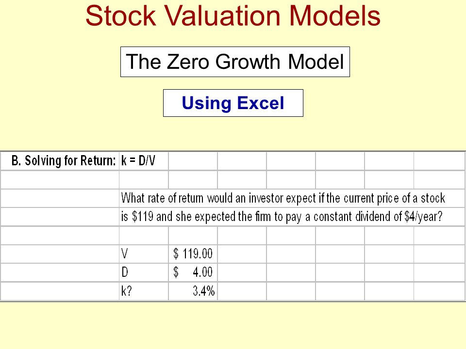 Stock Valuation Models The Zero Growth Model Using Excel