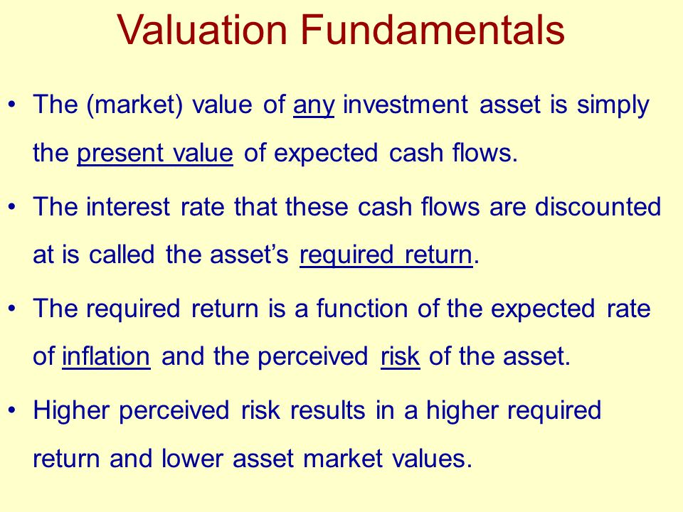 Basic Valuation Model V 0 = CF 1 + CF 2 + … + CF n (1 + k) 1 (1 + k) 2 (1 + k) n Where: V 0 = value of the asset at time zero CF t = cash flow expected at the end of year t k = appropriate required return (discount rate) n = relevant time period