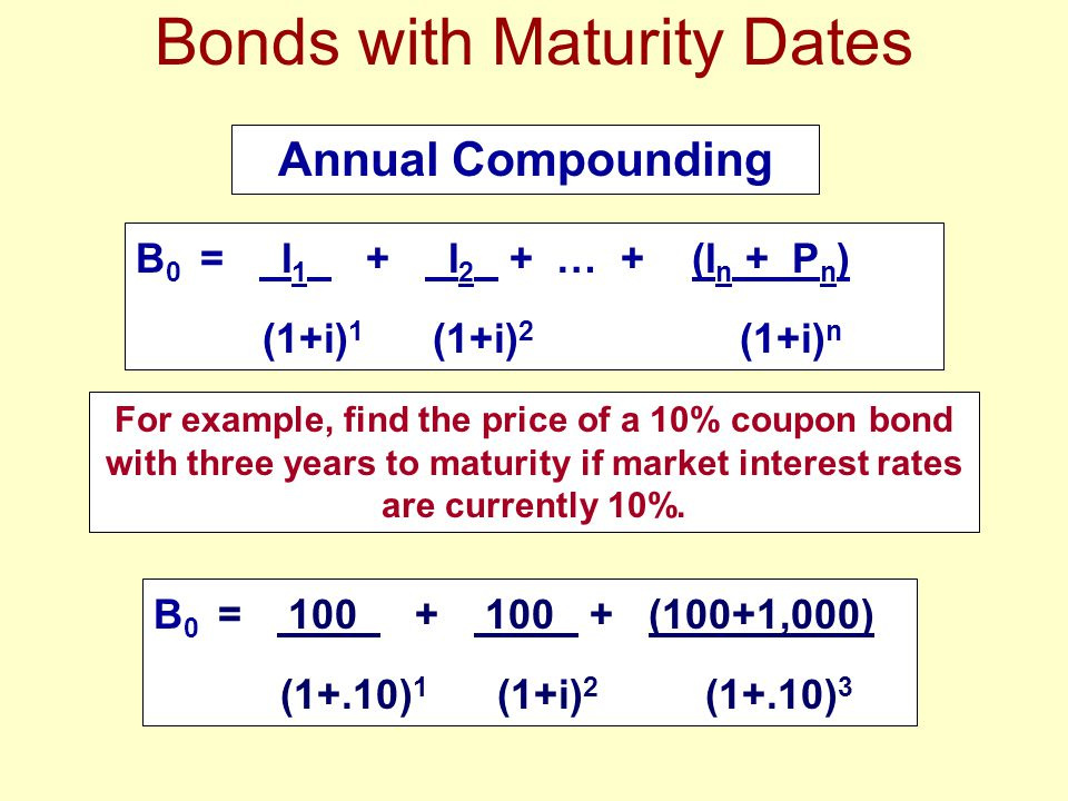 Bonds with Maturity Dates Annual Compounding B 0 = I 1 + I 2 + … + (I n + P n ) (1+i) 1 (1+i) 2 (1+i) n For example, find the price of a 10% coupon bo
