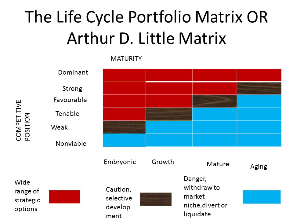 The Life Cycle Portfolio Matrix OR Arthur D. Little Matrix MATURITY COMPETITIVE POSITION Dominant Strong Favourable Tenable Weak Nonviable EmbryonicGr