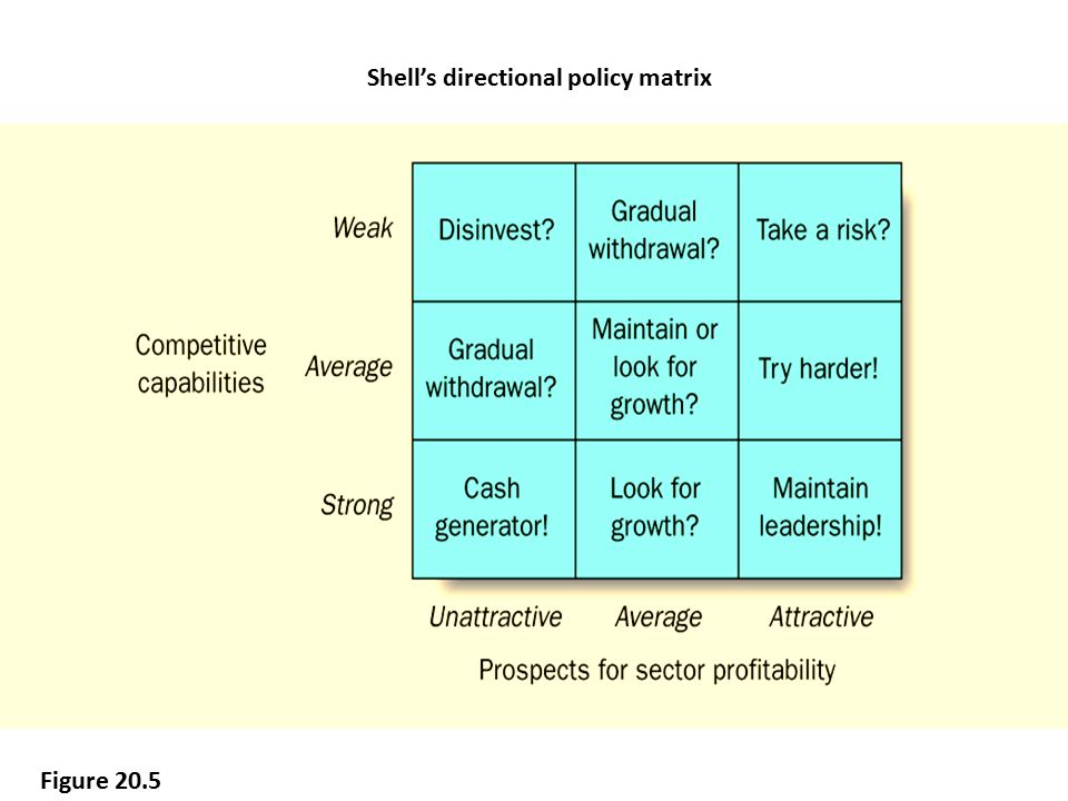 Shell's directional policy matrix Figure 20.5