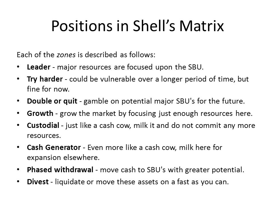 Positions in Shell's Matrix Each of the zones is described as follows: Leader - major resources are focused upon the SBU. Try harder - could be vulner