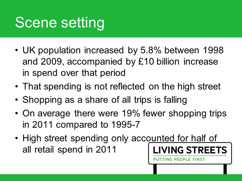 Scene setting UK population increased by 5.8% between 1998 and 2009, accompanied by £10 billion increase in spend over that period That spending is not reflected on the high street Shopping as a share of all trips is falling On average there were 19% fewer shopping trips in 2011 compared to 1995-7 High street spending only accounted for half of all retail spend in 2011