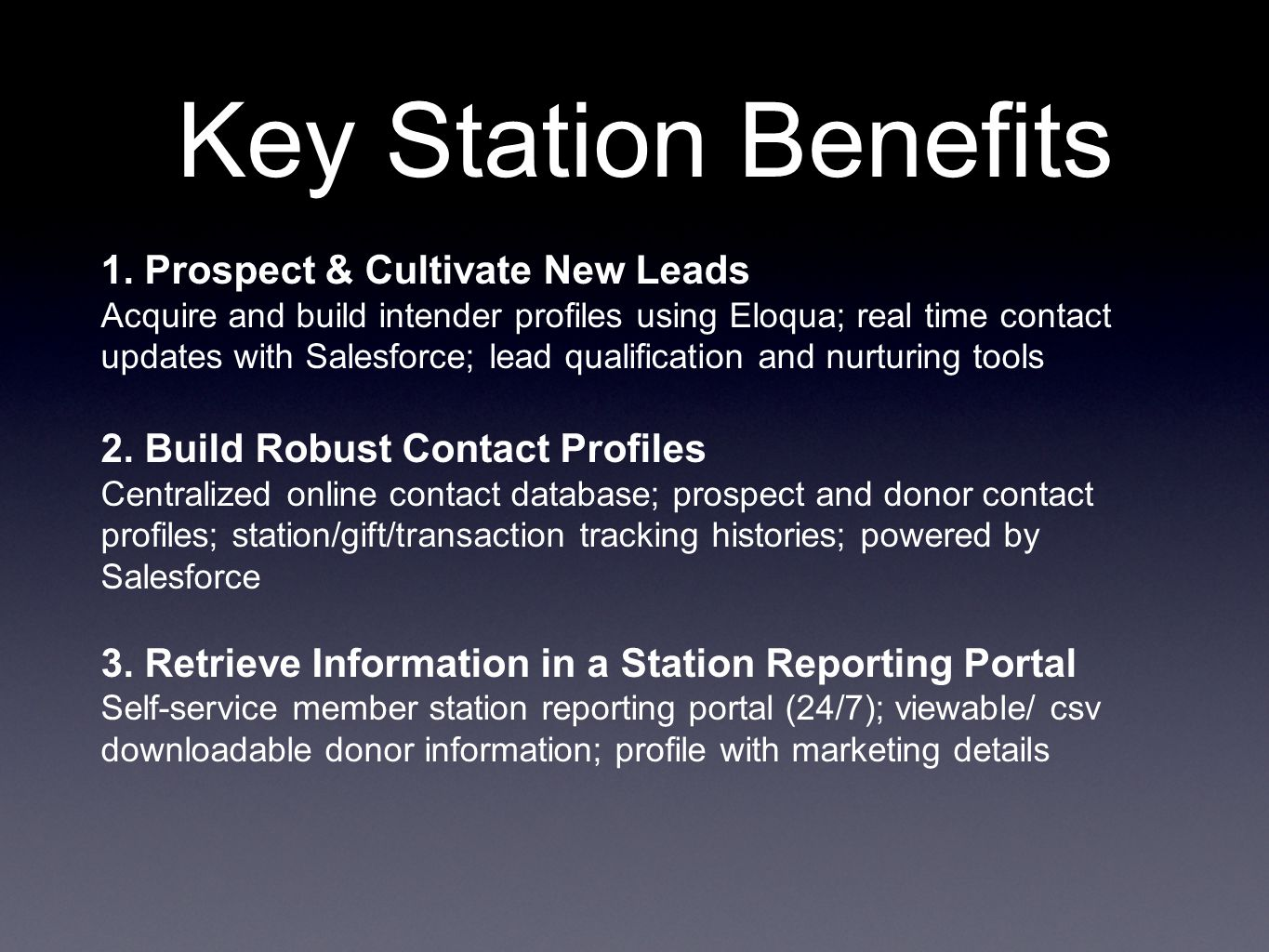 Key Station Benefits 1.