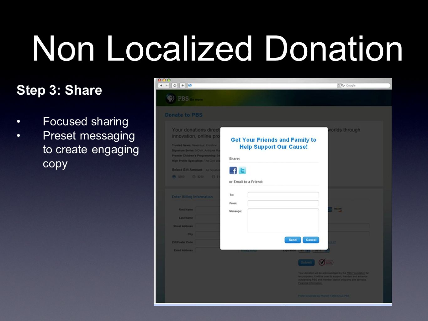 Step 3: Share Focused sharing Preset messaging to create engaging copy Non Localized Donation