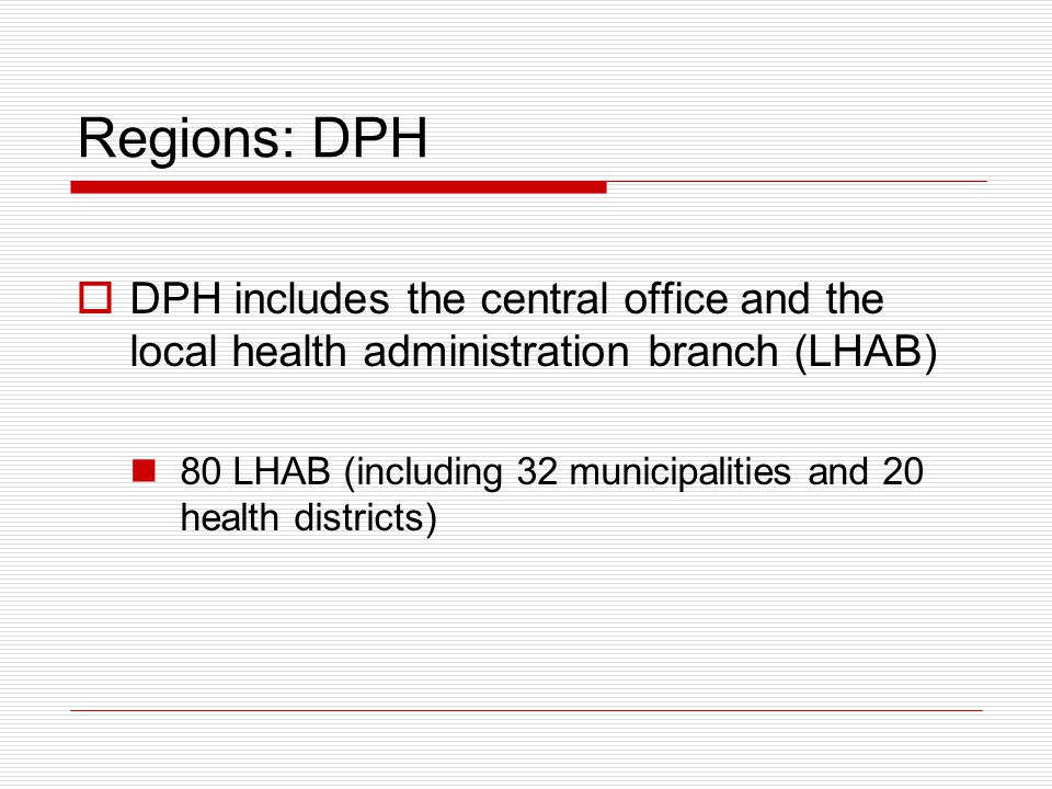 Regions: DPH  DPH includes the central office and the local health administration branch (LHAB) 80 LHAB (including 32 municipalities and 20 health districts)